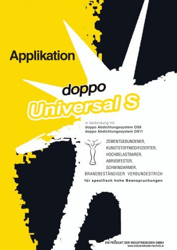 Prospekt doppo Universal S Applikation - Fankhauser Estriche GmbH