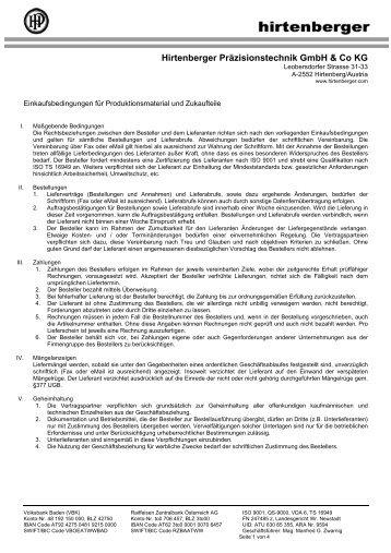 Einkaufsbedingungen für Produktionsmaterial ... - Hirtenberger AG