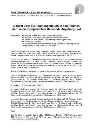 Bericht über die Räumungsübung in den Räumen der Freien ...