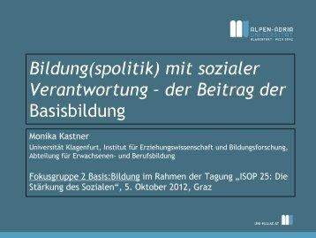 Vitale Teilhabe – Kennzeichen gelingender Basisbildung? - ISOP