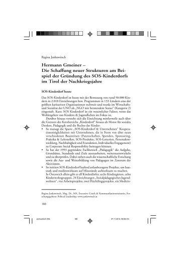 Hermann Gmeiner - Dr. Regina Maria Jankowitsch