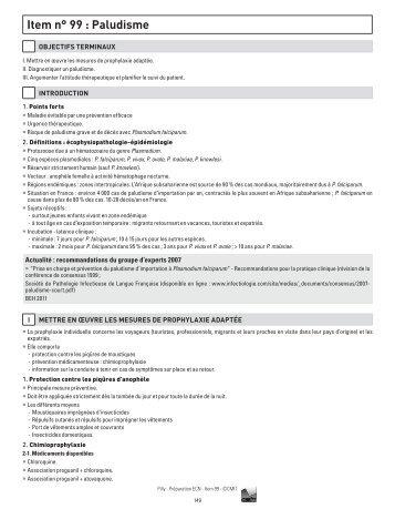 Item n° 99 : Paludisme - Infectiologie