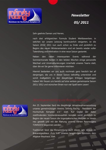 Newsletter 05/ 2011 - Infinity Racing