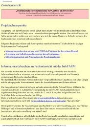 Zwischenbericht Projektschwerpunkte ... - InfoFarm