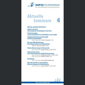 Aktuelle Seminare 4 - Info-Steuerseminar