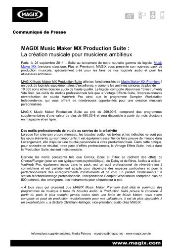 MAGIX Music Maker MX Production Suite : La création ... - infohightech