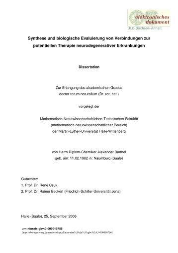 Synthese und biologische Evaluierung von Verbindungen zur ...