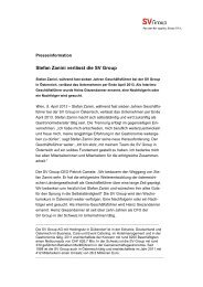Stefan Zanini verlässt die SV Group - SV (Österreich) GmbH