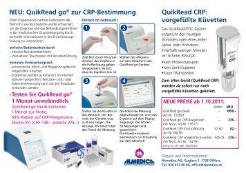 QuikRead CRP: vorgefüllte Küvetten NEU: QuikRead go ... - Almedica