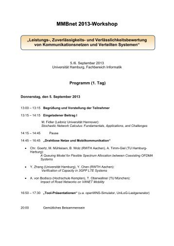 Vorläufiges Programm - Fachbereich Informatik - Universität Hamburg