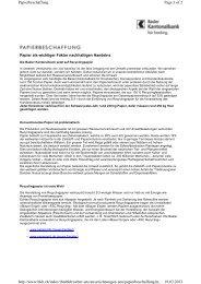 Vorbildliche Papierbeschaffung - BKB
