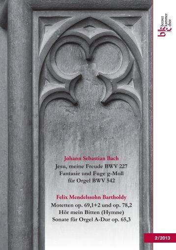 """Sonate für Orgel A-Dur op. 65,3 """"Aus tiefer Not"""" - Berner Kammerchor"""