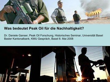 Was bedeutet Peak Oil für die Nachhaltigkeit? - Basler Kantonalbank