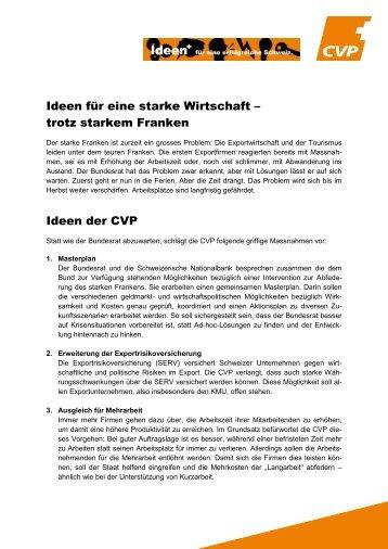 Für eine starke Wirtschaft – trotz starkem Franken - CVP Schweiz