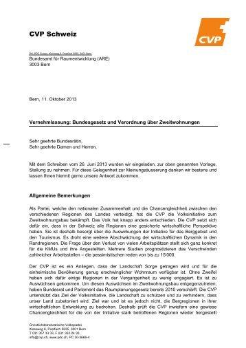 Zur Vernehmlassung - CVP Schweiz