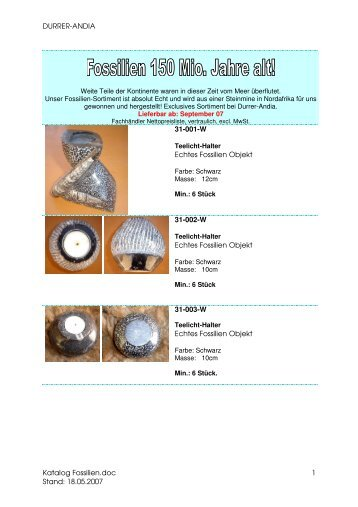Katalog Fossilien - Durrer-Andia