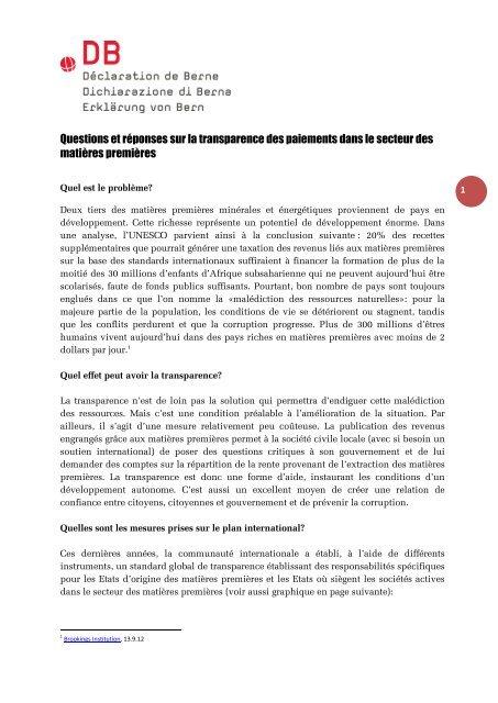 Questions et réponses sur la transparence des paiements dans le ...