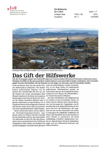 Das Gift der Hilfswerke - Erklärung von Bern