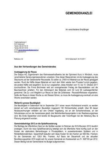 Gemeinderatsnachrichten vom 6. Oktober 2011