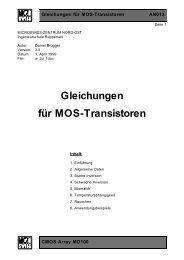 Gleichungen für MOS-Transistoren