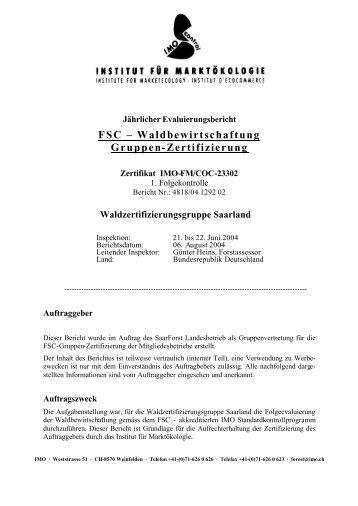 FSC – Waldbewirtschaftung Gruppen-Zertifizierung - IMO