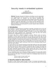 Security needs in embedded systems