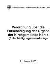 Verordnung über die Entschädigung der Organe der Kirchgemeinde ...