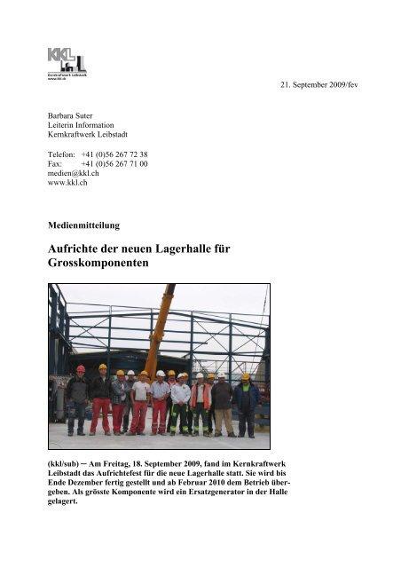 Medienmitteilung vom 21. September 2009 - Kernkraftwerk Leibstadt