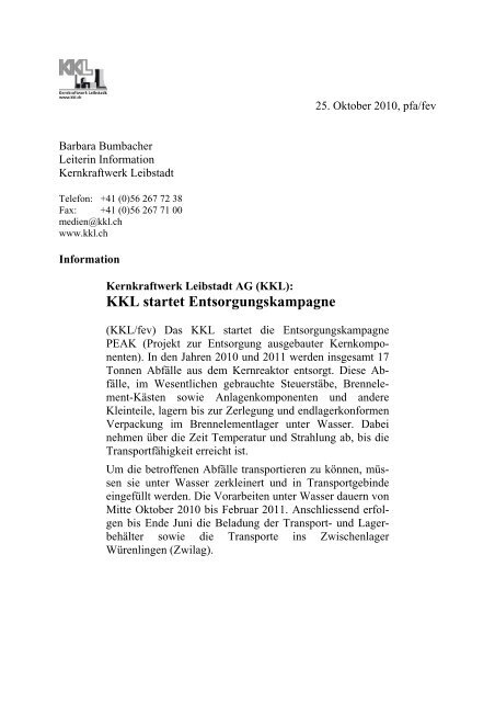 KKL startet Entsorgungskampagne - Kernkraftwerk Leibstadt