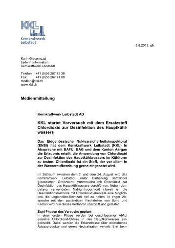Medienmitteilung zum Start der Vorversuche mit Chlordioxid