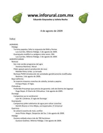 Inforural 4 de agosto de 2009 - InfoRural.com.mx