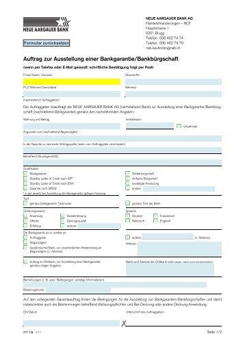 Auftrag zur Ausstellung einer Bankgarantie/Bankbürgschaft 