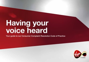 Virgin Media Consumer Complaint Resolution Code of Practice