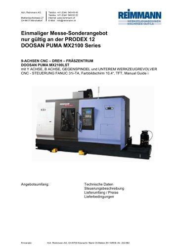 DOOSAN PUMA MX2100LST Spezialangebotx - Hch. Reimmann AG
