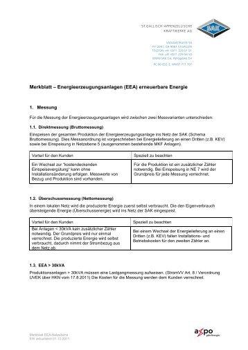 Merkblatt – Energieerzeugungsanlagen (EEA) erneuerbare ... - SAK