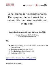 """Lancierung der internationalen Kampagne """"decent work for a decent ..."""