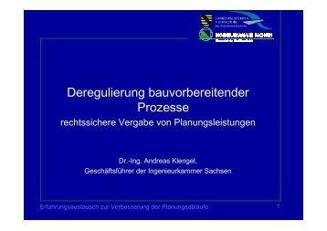 Deregulierung bauvorbereitender Prozesse - Ingenieurkammer ...