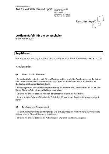 Lektionentafeln für die Volksschulen Kindergarten