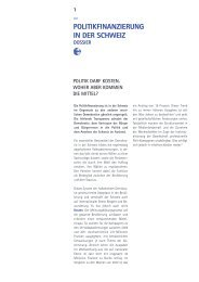 Dossier Politikfinanzierung - Transparency International
