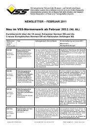 NEWSLETTER – FEBRUAR 2011 Neu im VSS-Normenwerk ab ...
