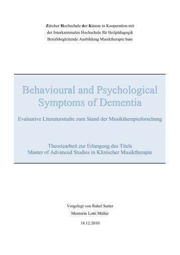 Behavioural and Psychological Symptoms of Dementia - Zürcher ...