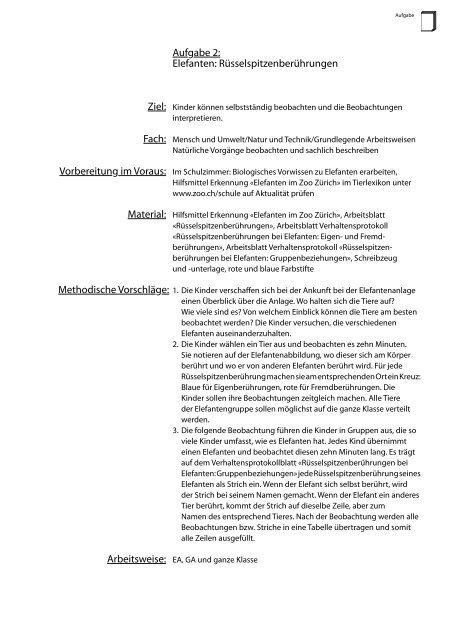 Aufgabe 2: Elefanten: Rüsselspitzenberührungen - Zoo Zürich