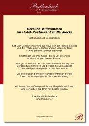 Menüvorschläge 2013 (nur Speisen) - Hotel-Restaurant Bullerdieck
