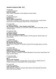 Liste aller Akademie-Gespräche - Akademie der Künste