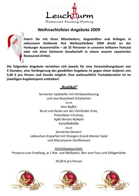 Weihnachtsfeier Harburg.Weihnachtsfeier Angebote 2009 Leuchtturm Harburg
