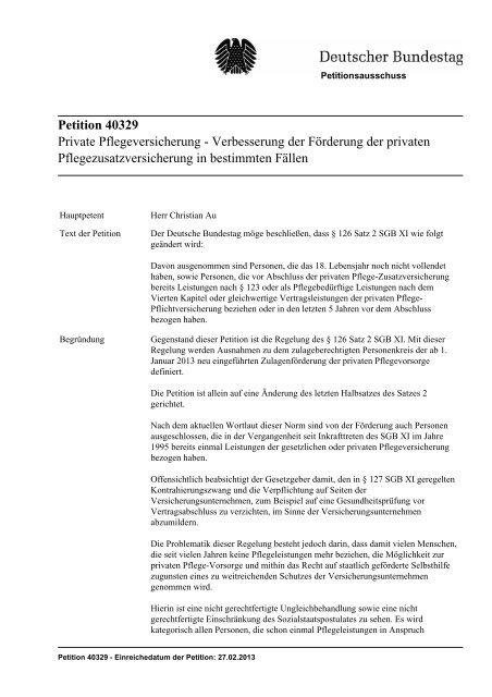 Petition 40329 Private Pflegeversicherung - Verbesserung ... - ASbH