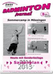 Heft 09/2013 - Baden - Württembergischer Badminton - Verband