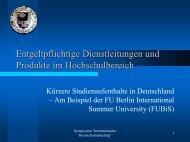 Entgeltpflichtige Dienstleitungen und Produkte im Hochschulbereich
