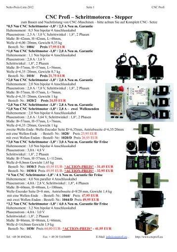 CNC Profi Preisliste 01/2013