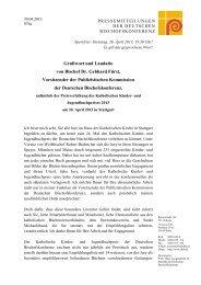 Grußwort und Laudatio von Bischof Dr. Gebhard Fürst, Vorsitzender ...